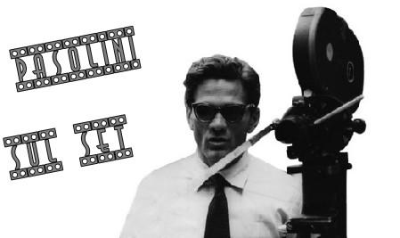 Pier Paolo Pasolini foto banner sul set