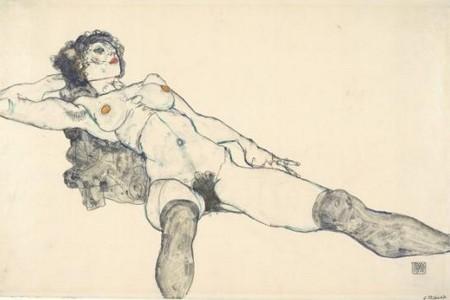 5-17 Egon Schiele Nudo disteso a gambe divaricate